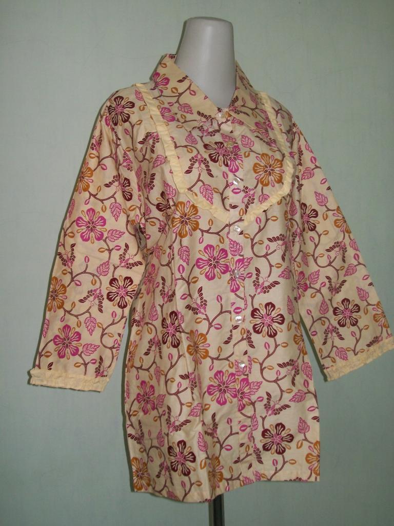 Blus Batik Muslimah Lengan Panjang, Bermotif Bunga, Warna Paduan Merah – Coklat Muda [CP033]