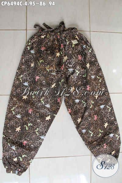 Celana Panjang Modis Bahan Batik Cap Dari Solo, Busana Batik Wanita Terkini Modis Untuk Jalan-Jalan Santai [CP6494C-All Size]