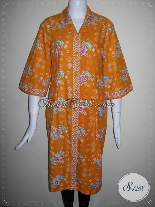 Dress Batik Cap Yang Trendy,Dress Batik Bertricot Yang Nyaman Dipakai [DR015C-L]