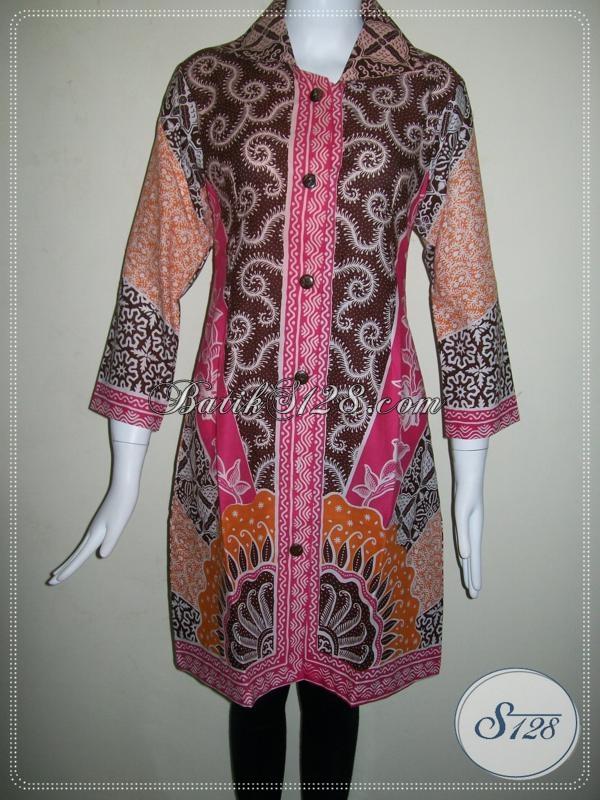 Dress Trendy Dan Model Masa Kini,Dress Batik Kerja Motif Modern [DR022P]