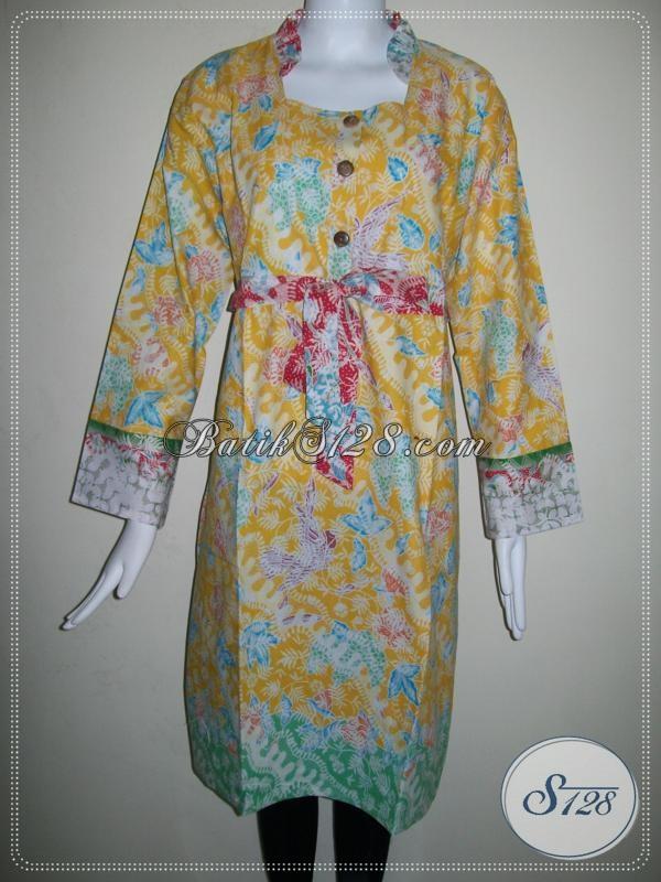 Model Dress Wanita Batik Lengan Panjang,Dress Wanita Yang Bisa Dikombinasi Dengan Leging [