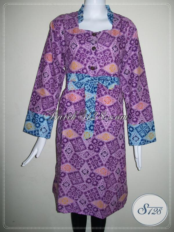 Dress Wanita BAtik Warna Ungu [DR032CT]