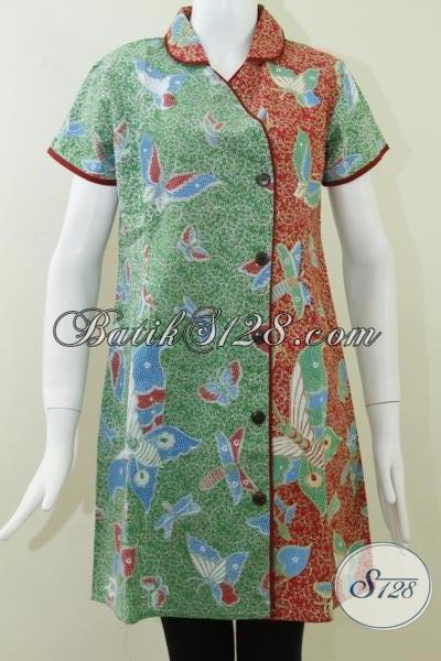 dress modis paduan dua warna elegan asli batik solo