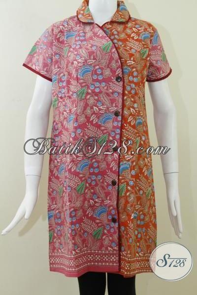 Dress Wanita BAtik Printing,Baju Dress Dua Warna Pink Dan Orange [DR055P]