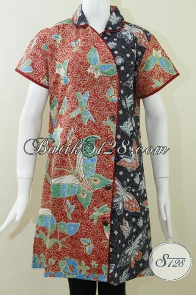 Dress Paduan Warna Hitam Dan Merah Untuk BAtik Kerja Wanita [DR061P-XL]