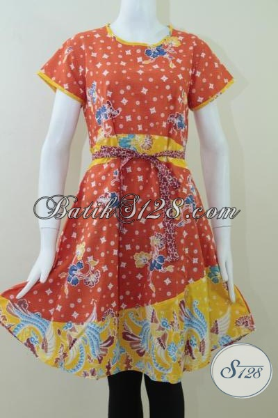 Warna Orange Cerah Dress Batik Wanita Modern [DR064P]