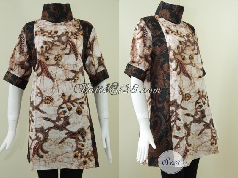 Jual Dress Batik Keren Dengan Perpaduan Dua Motif, Baju Batik Wanita Yang Selalu Ingin Tampil Modis Dan Cantik, Size L