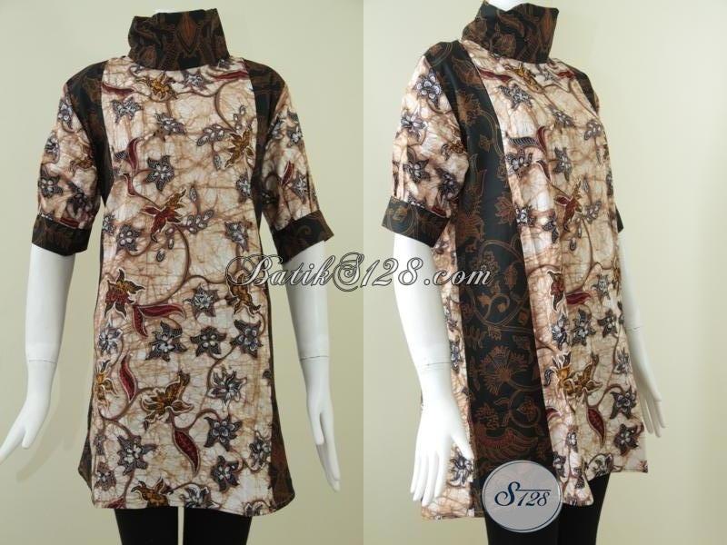 Busana Batik Tren Terbaru 2016, Dress Batik Trendy Model Kombinasi Klasik Dan Floral Cantik Sekali, Size L