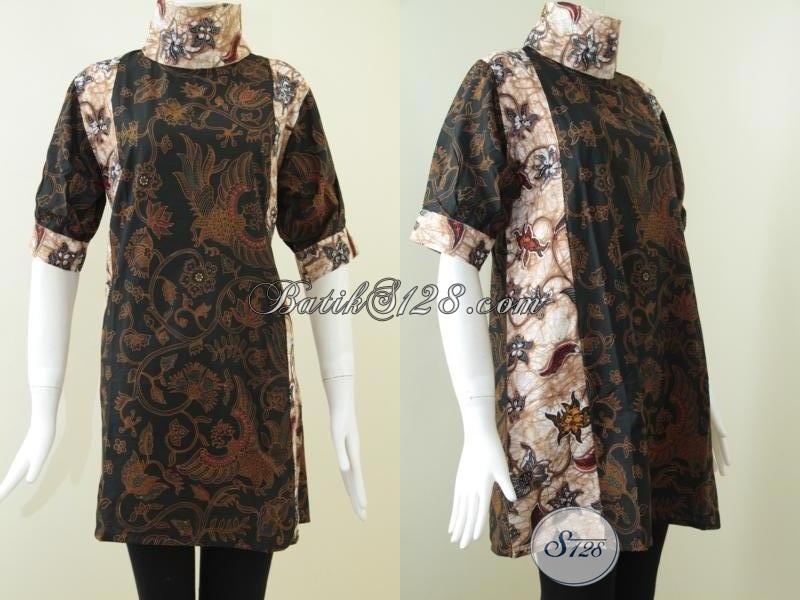 Jual Batik Klasik Untuk Blus BAtik Model Dress Wanita Trendy [DR085BT-L]