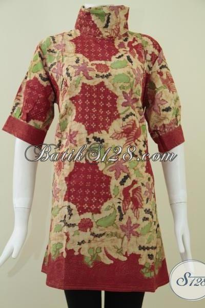 Toko Online Batik Dress Wanita Pekerja Kantor,Batik Murah Asli Kota Solo [DR087KT-L]