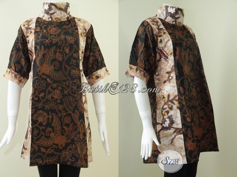Batik Solo Online, Sedia Dress Batik Wanita Karir Kombinasi Dua Warna Dan Motif Fashionable Tren Busana 2015, Size XL
