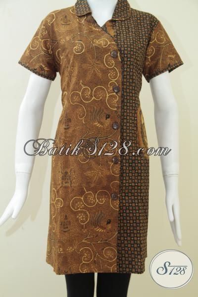 Baju Batik Solo Kombinasi Tulis Istimewa, Pakaian Batik Unik Motif Truntum Garuda Dan Wahyu Anggur Keren Lengan Pendek, Size M