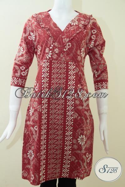 Toko Busana  Juragan Batik Solo Online, Jual Dress Batik Cantik Warna Cerah Trendy Model Masa Kini, Size S