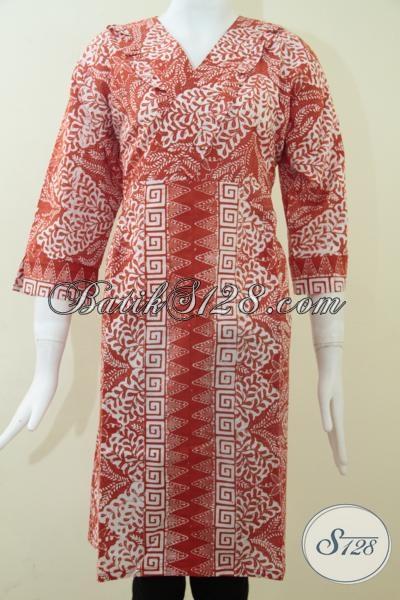 Jual Pakaian Batik Perempuan Muda Masa Kini, Dress Batik Model Resleting Belakang, Size XL