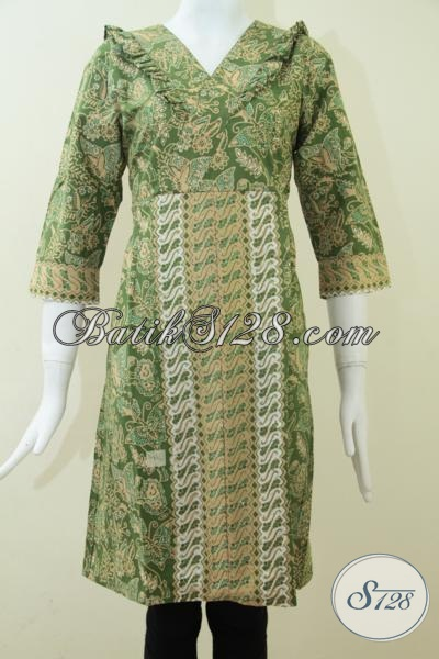 Bau Batik Istimewa Wanita Muda Dan Remaja Putri Masa Kini, Dress Batik Warna Hijau Motif Trendy Cocok Dipadu Dengan Legging, Size M