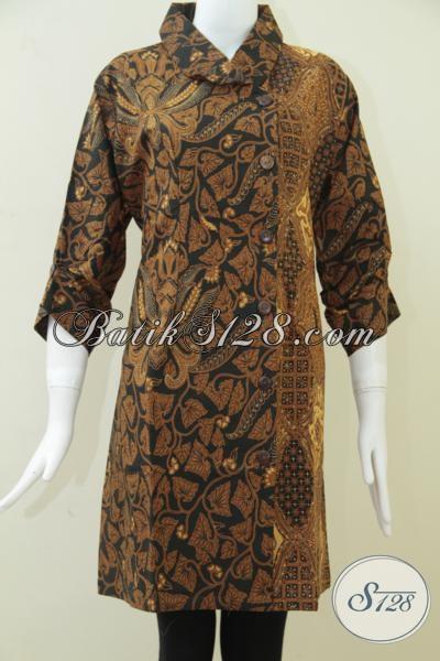 Trend Batik Klasik Tahun 2014 Untuk Dress Batik Motif Pisang Bali Dan Sido Drajad [DR116BT-XL]