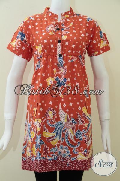 Toko Batik Solo Online, Jual Pakaian Batik Wanita Model Lengan Pendek, Dress Batik Warna Orange Motif Modern Trendy Modis, Size S