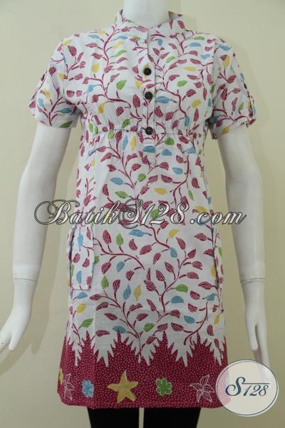 Baju Batik Wanita Lengan Pendek Dasar Putih Motif Dedaunan Tren Batik Masa Kini, Dress Batik Resmi Dan Santai, Size M