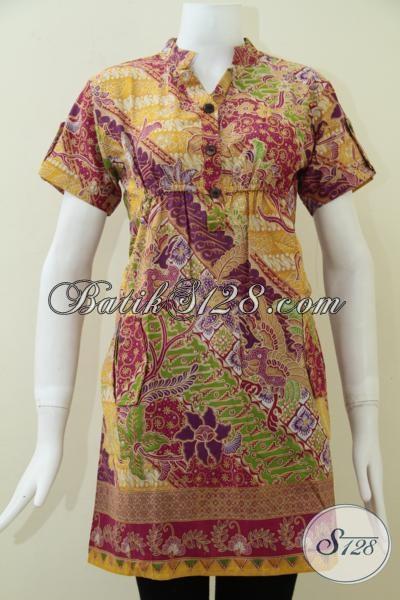 Koleksi Terbaru Dress Batik Solo Notif Unik Keren Kain Halus Ademh, Bisa Untuk Santai Dan Resmi, Size M