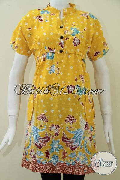 Trend Terbaru Dress Batik Warna Kuning Dengan Motif Burung, Pakaian Perempuan Muda Trendy Masa Kini, Size L