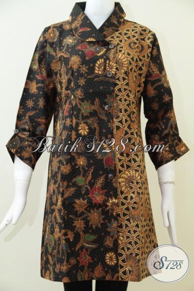 Baju Batik Wanita Paling Trendy Saat Ini, Dress Batik Klasik Dengan Kombinasi Dua Motif Keren Dan Modis [DR1585BT-L]