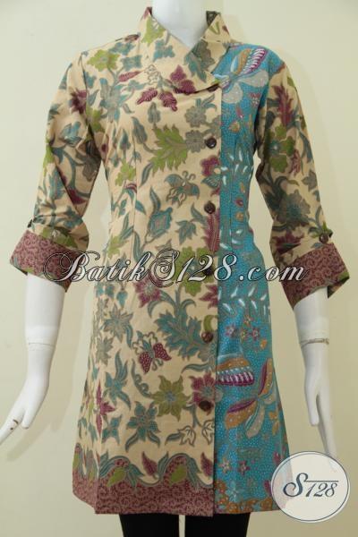 Jual Eceran Harga Grosir Busana Batik Wanita Model Terkini, Dress Batik Trendy Motif Bagus Keren Dan Fashionable [DR1756PL-M]