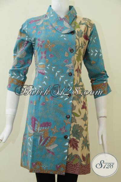 Pusat Online Pakaian Batik Solo Terlengkap Dan paling Up To Date, Sedia Dress Batik Klasik Modern Wanita Tampil Elegan [DR1757PL-M]