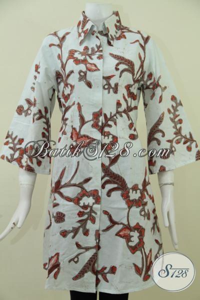 Dress Batik Kombinasi Tulis Tulis Motif Trendy Untuk Wanita Muda Tampil Lebih Bergaya, Baju Batik Modern Bahan Halus Dan Adem, Size L
