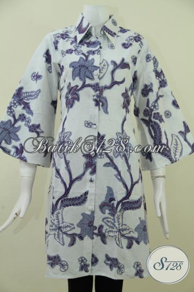 Jual Dress Batik Seragam Kerja Wanita Karir Masa Kini, Batik Trendy Dasar Putih Motif Warna Ungu Desain Trendy Berkelas, Size L