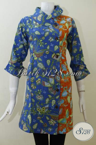 Dress Batik Biru Kombinasi Orange Motif Bunga Dan Kupu, Baju Batik Paling Trendy Untuk Wanita Muda Tampil Bergaya, Size S