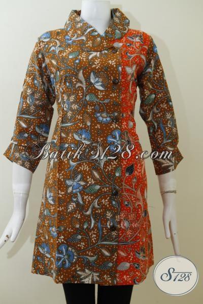 Dress Batik Klasik Kombinasi Dua Warna Cocok Untuk Seragam Kerja Wanita Karir Tampil Rapi Dan Modis, Size M