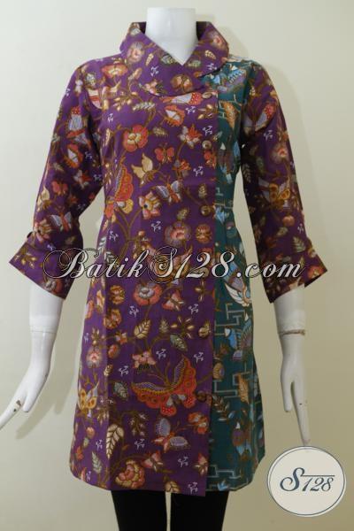 Dress Batik Kombinasi Warna Ungu Dan Hijau Berpadu dengan Motif-Motif Unik Trend Masa Kini, Baju Batik Print Harga 100 Ribuan Bisa Tampil Berkelas [DR2063P-M]