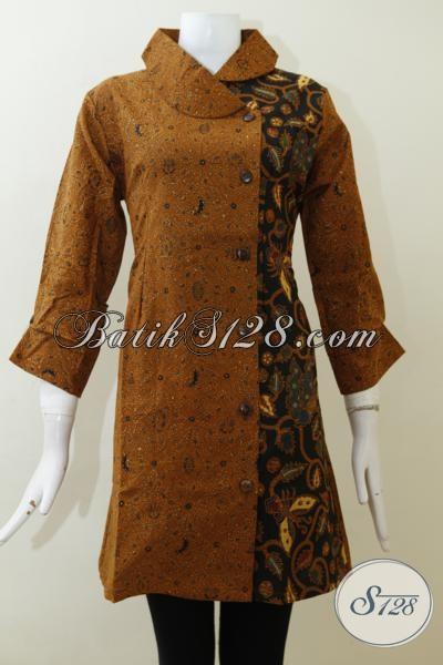 Dress Batik Klasik Buatan Jawa Proses Kombinasi Tulis, Baju Batik Seragam Kerja Karyawati Bank Kwalitas Halus Harga Terjangkau, Size L