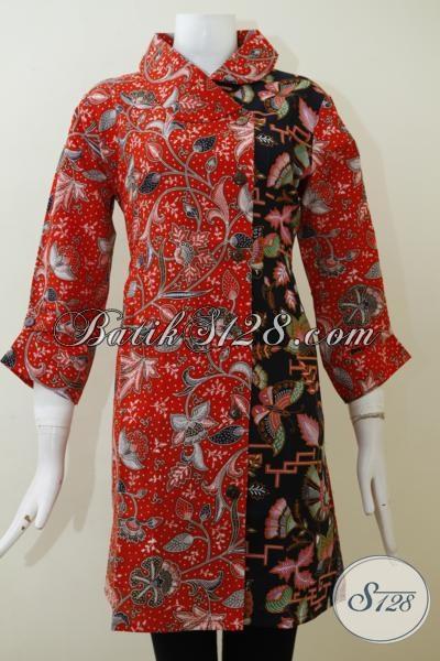 Dress Batik Printing Warna Merah Kombinasi Hitam Desain Formal Dan Rapi, Cocok Untuk Baju Kerja Pegawai Bank Dan BUMN, Size L