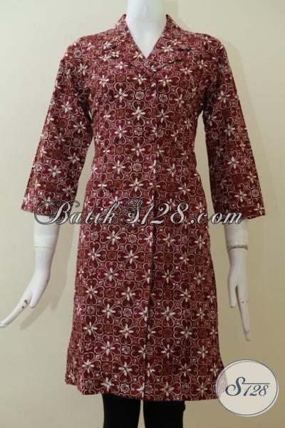Dress Batik Cap Merah Marun Motif Klasik Modern Pas Buat Perempuan Dewasa, Baju Batik Mewah Desain Terkini Bisa Untuk Kerja Dan Acara Formal, Size XXL