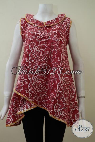 Jual Dress Batik Merah Model Tanpa Lengan Dengan Motif Daun