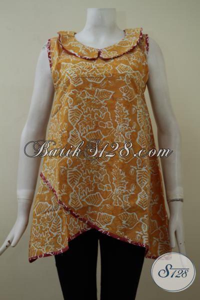 Busana Batik Dress Wanita Terbaru, Baju Batik Tanpa Lengan Warna Kuning Trendy Cocok Untuk Pesta Dan Santai [DR2130CS-M, L , XL]