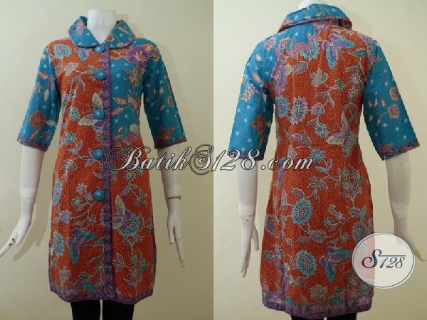 Jual Pakaian Batik Wanita Model Dress, Baju Batik Solo Panjang Kombinasi Warna Orange Dan Hijau Lengan 3/4 Pas Buat Ke Kantor [DR2154P-S]