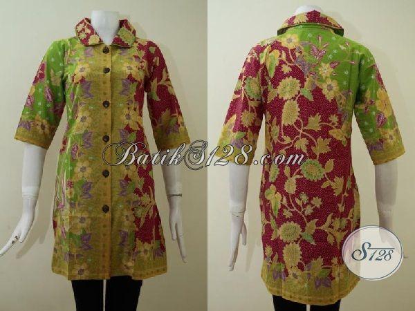 Dress Batik Kombinasi Warna Kuning Merah Hijau Dengan Motif Bunga Pas Buat Wanita Muda Tampil Trendy Dan Elegan [DR2159P-M]