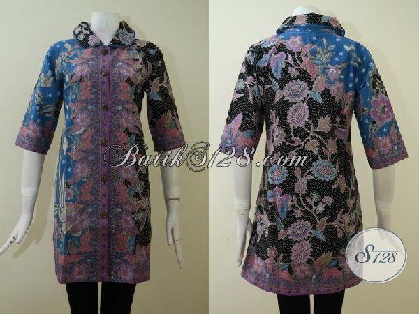 Trend Dress Batik Wanita Karir Terbaru, Baju Batik Kombinasi Tiga Warna Yang Trendy Berpadu Motif Nan Mewah Hadir Untuk sempurnakan Penampilan Perempuan Muda Dan Dewasa [DR2161P-M]