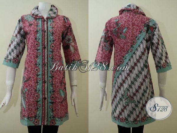 Jual Busana Batik Cewek Desain Terbaru Yang Lebih Berkelas, Pakaian Batik Dress Mewah Berbahan Halus Dengan Motif Kombinasi Yang Trendy Wanita Tampil Lebih Percaya Diri [DR2166P-L]