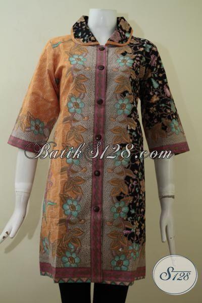 Tempat Beli Aneka Pakaian Batik Wanita Model Terbaru, Sedia Juga Dress Batik Modern Proses Print Berbahan Halus Dan Adem Dengan Harga Murmer [DR2167P-L]