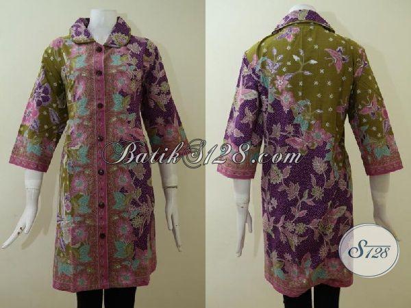 Pakaian Dress Batik Exclusive Untuk Yang Berbadan Besar, Baju Batik Solo Klasik Modern Size Jumbo Dengan Model Terkini Untuk Tampil Trendy Dan Modis [DR2176P-XXL]