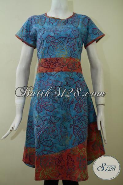 Dress Batik Desain Mewah Warna Biru Kombinasi Orange, Baju Batik Pesta Wanita Muda Dan Remaja Putri Motif Terbaru, Size S – L