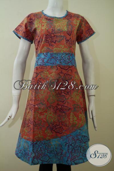 Dress Batik Cap Smoke Desain Trendy Kwalitas Bagus Harga Terjangkau, Jual Batik Keren Orange Kombinasi Biru Pas Buat Pesta Dan hangouts, Size S – M – XL