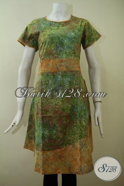 Dress Batik Cap Smoke Lengan Pendek Dengan kombinasi Warna Hijau Dan Kuning  Yang Keren Berpadu Motif Unik Cocok Bagi Wanita Berjiwa Muda [DR2220CS-M , L]