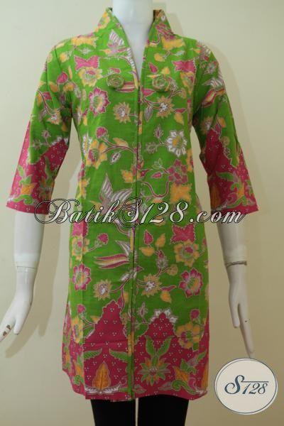 Jual Dress Batik Perempuan Warna Hijau Bahan Katun Halus [DR2305P-M]