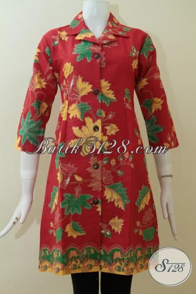 Batik Dress Merah, Baju Batik Printing Motif Bagus Dan Keren, Baju Batik Solo Halus Wanita Tampil Lebih Cantik, Size S