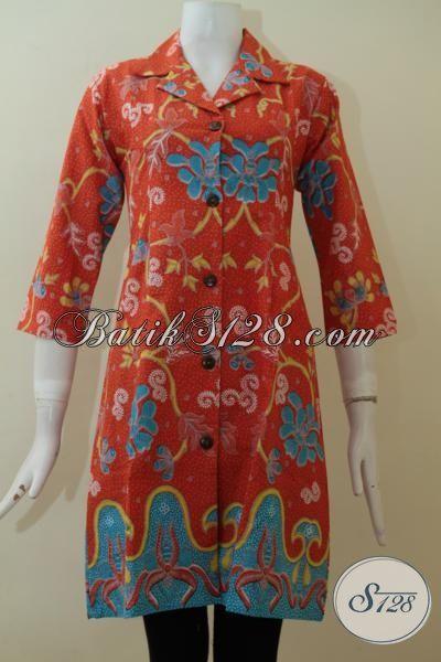 Baju Batik Dress Istimewa, Busana Batik Lengan Tiga Perempat, Pakaian Batik Printing Warna Bagus Motif Berkelas, Cocok Untuk Kerja Dan Pesta Size S