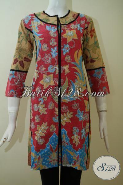 Pusat Pakaian Batik Wanita Online, Sedia Dress Batik Lengan Tiga Perempat Panjang Selutut, Batik Keren Motif Modern Tampil Lebih Bergaya [DR2448PL-S]